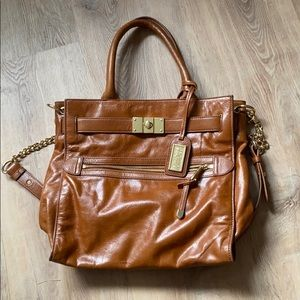 Badgley Mischka brown leather crossbody tote
